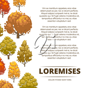 Autumn background poster design with colorful trees. Banner with tree. Vector illustration