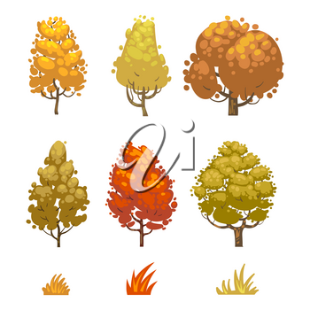 Cartoon style autumn trees and grass isolated on white background. Collection of trees, vector illustration