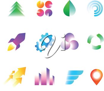 Trendy business logo symbols. Rainbow color geometric shapes for logotypes vector set. Colored logotype rainbow geometric illustration