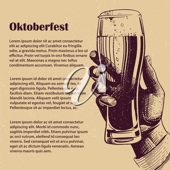 Hand with glass of beer. Hand drawn oktoberfest banner and poster design with grunge effect. Vector illustration