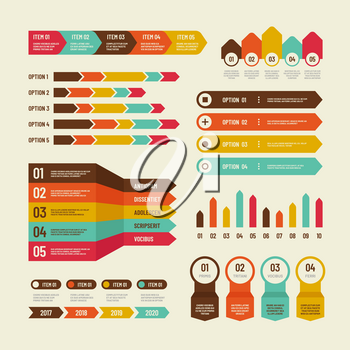 Infographic template. Economic charts marketing graphs process table, timeline and organization flowchart. Infographics vector elements. Illustration of infographic, graph and diagram, data process