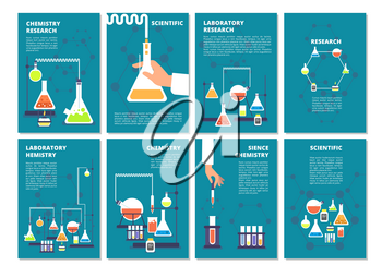 Chemistry laboratory testing. Pharmacy processing and science medical research lab. Vector book covers, brochure template. Illustration of pharmacy lab poster, medical test and research