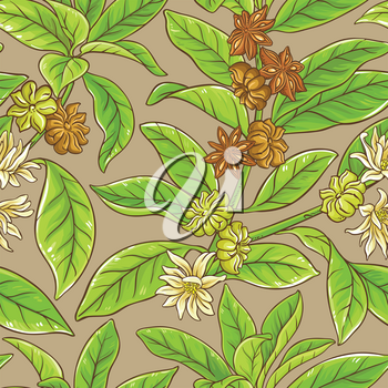 anise branches vector pattern on color background