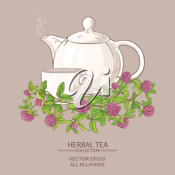 cup of clover tea and teapot on color background