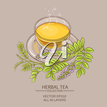 cup of licorice tea on color background