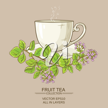 cup of oregano tea on color background