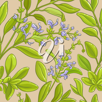 sage branches vector pattern on color background