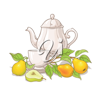 pear tea in teapot illustration on white background