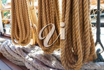Yacht's ropes and tackles- marine rigging equipment.