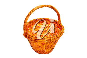 Wicker basket isolated on white.