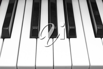 Close up of black and white piano keys
