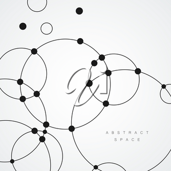 Vector dots and circles connect background. Abstract design.