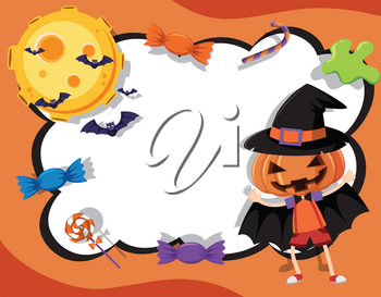 Border template with halloween theme illustration