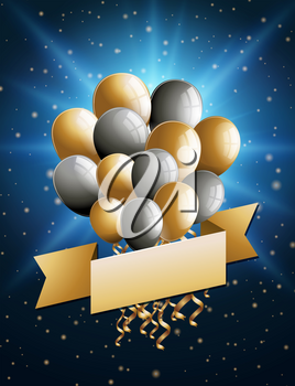 Banner template with gold and silver balloons illustration