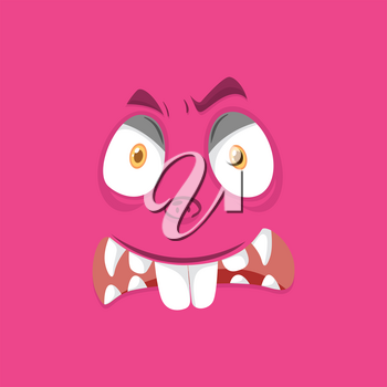Pink monster face background illustration