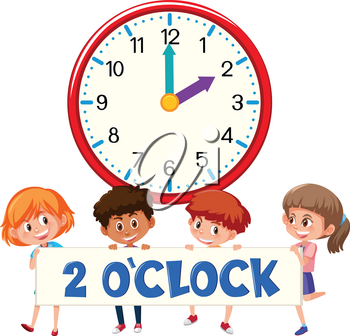 2 o'clock and students illustration