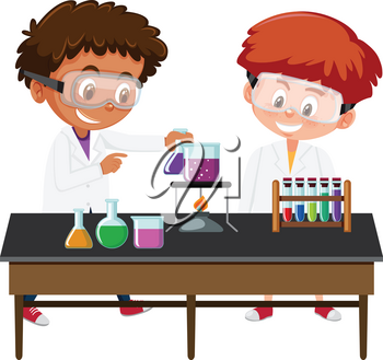 Students experiment in the lab illustration