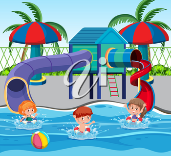 Children at the water park illustration