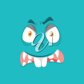 An angry monster face illustration