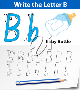 Letter B tracing alphabet worksheets illustration