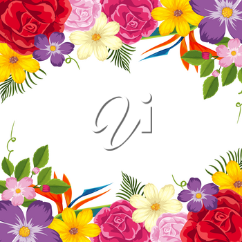 Border template with colorful flowers illustration