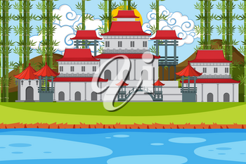 An outdoor scene with Asian castle illustration