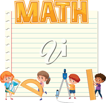 Blank paper with kids and math equipments illustration