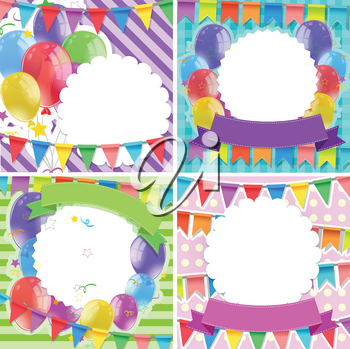 Border templates with balloons and flags illustration