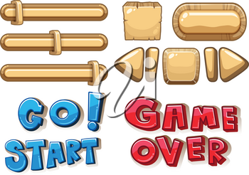 Game buttons bars and arrows illustration
