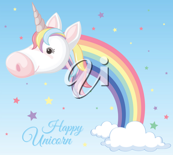 A Rainbow Unicorn and Cloud illustration
