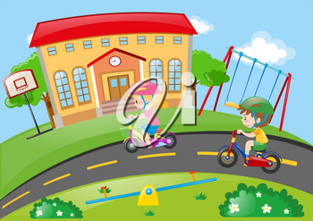Boy and girl riding bike in the park illustration