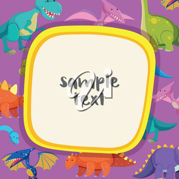 Border template with many dinosaurs illustration