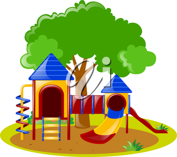 Scene with playground in park illustration