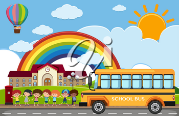 Scene with children and school bus on the road illustration