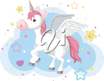 Imaginary horse with horn and wings illustration