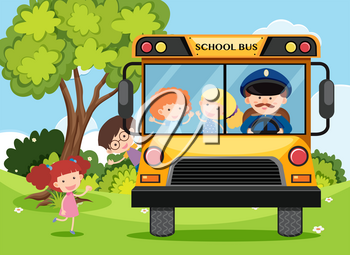 Children and bus driver on school bus illustration