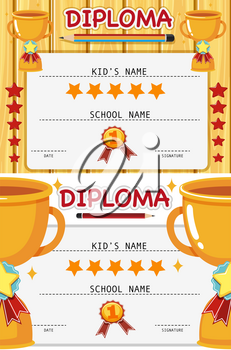 Two diploma templates with trophy illustration