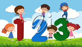 Children and number one to three in the field illustration