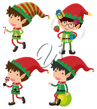 Four christmas eleves with presents and candy illustration