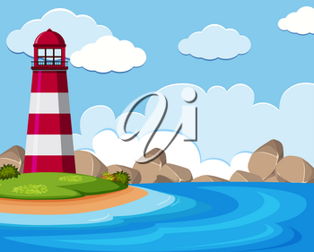 Background scene with lighthouse by the sea illustration