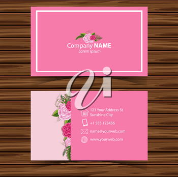 Businesscard template with pink roses in background illustration