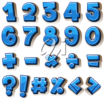 Font design for numbers and signs in blue illustration