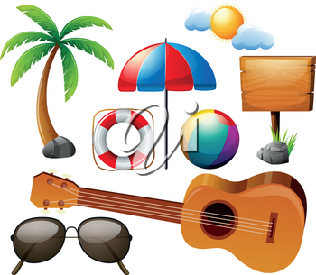 Summer set with guitar and other elements illustration