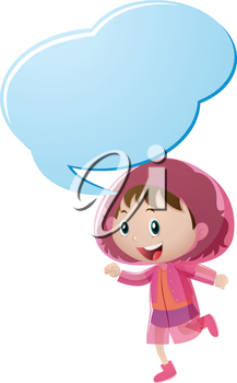 Speech bubble template with girl in pink raincoat illustration