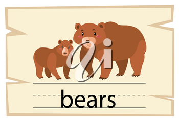 Wordcard template for word bears illustration