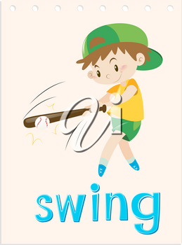 Wordcard with boy swing the bat illustration