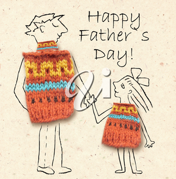 Father and daughter on a walk, happy and smiling to each other. Happy father's day, cartoon illustration with dad and daughter isolated on paper background.