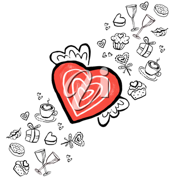 Red heart with wings with graphic elements.Postcard, poster, banner of St. Valentine's Day