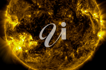 View of the sun through filters, 3D rendering computer graphics of the sun near. The star is the sun.