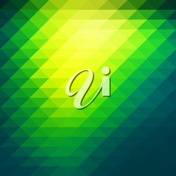 Bright yellow green abstract geometric background with rows of triangles, square